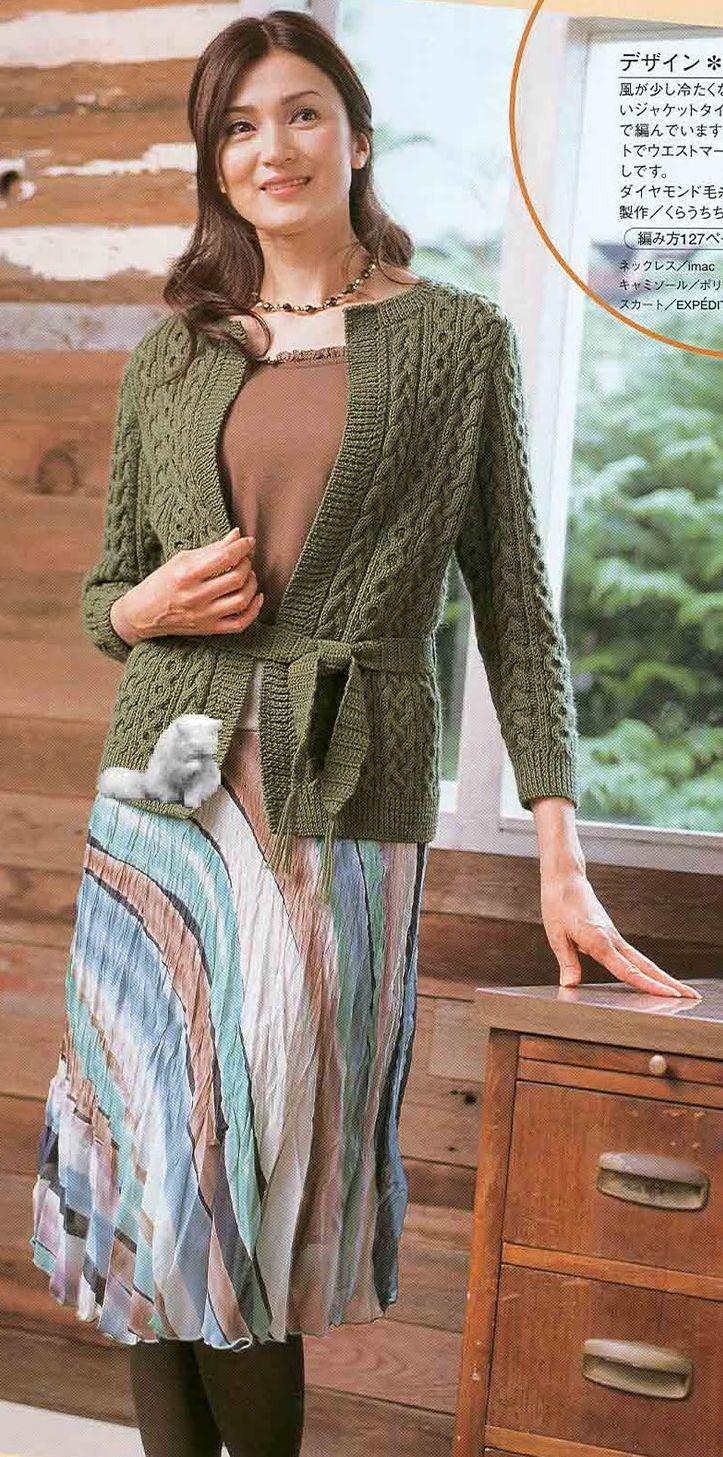 Вязание спицами оливковый кардиган