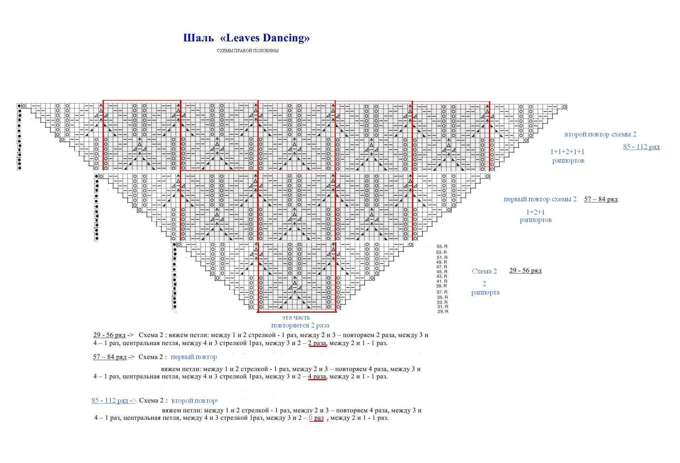 Схема вязания шали спицами с листиками