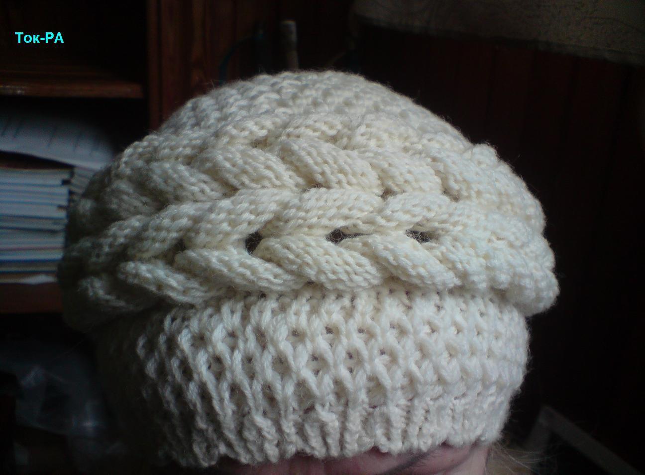 Шапочка объемными косами burberry вязание на спицах 26 фотография