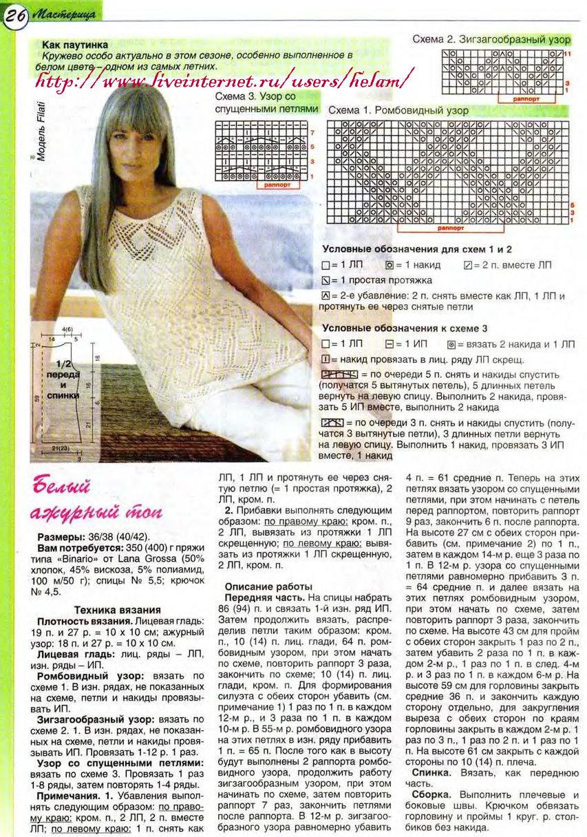 Подборка летних топов спицами - Страна Мам вязание: топы 81